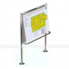 Вертикальная наклонная стойка для мнемосхемы с поручнем (для улицы), 905x1150мм