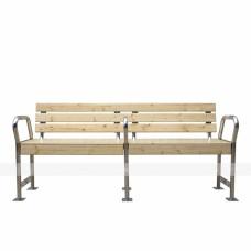Декоративная универсальная скамья со спинкой и тремя завышенными подлокотниками из нержавеющей стали для МГН 922х2103х653мм