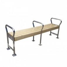Декоративная универсальная скамья с тремя завышенными подлокотниками из нержавеющей стали для МГН, 800х2103х548 мм