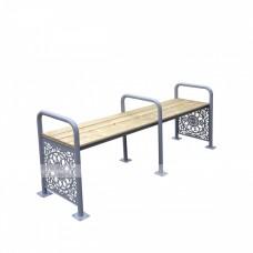 Декоративная скамья с тремя завышенными подлокотниками эконом из стали с порошковой покраской для МГН, 750х2103х485 мм