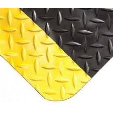 Противоусталостный мат, ромбическое рифление, черный с двумя желтыми краями